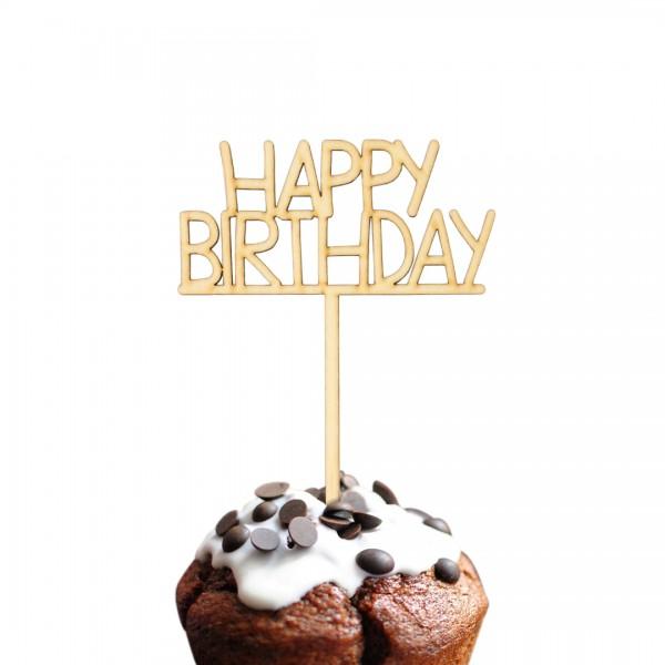 Cake Topper Happy Birthday auf Muffin