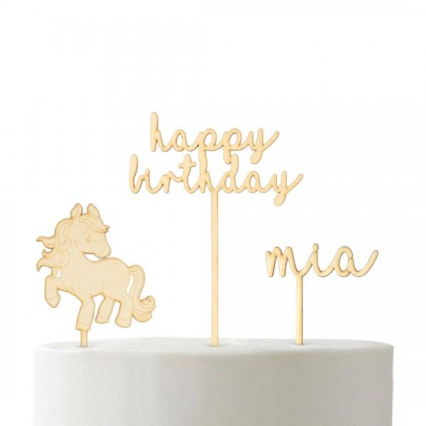 """Set """"Pferdeliebe"""" Cake Topper personalisierbar mit happy birthday, Pferd und Wunschname Cake Topper"""