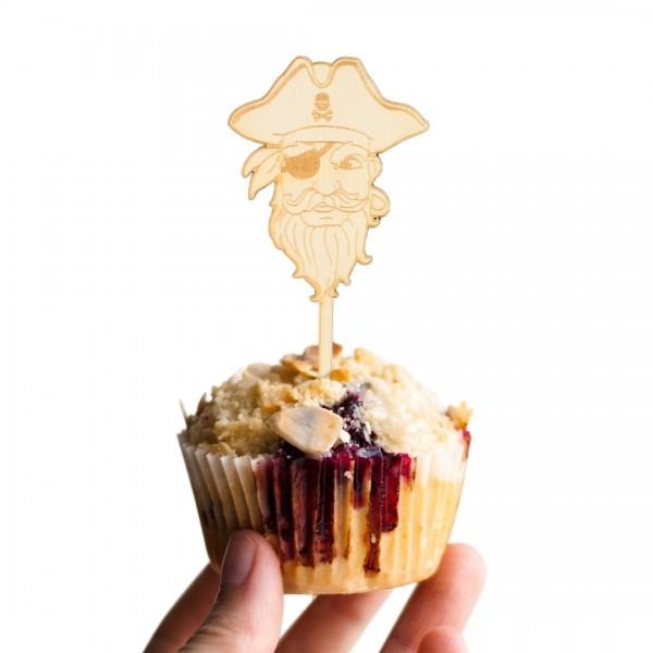 Cake Topper Piraten | Einäugiger Pirat Auf einem Muffin