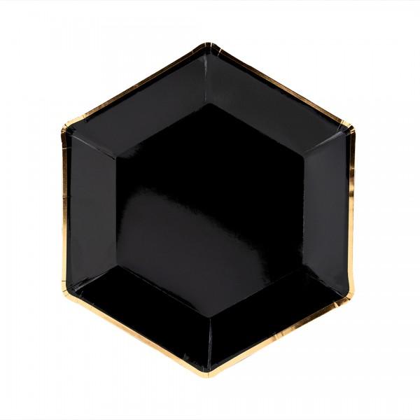 Schwarzer eckiger Papierteller mit goldenem Rand