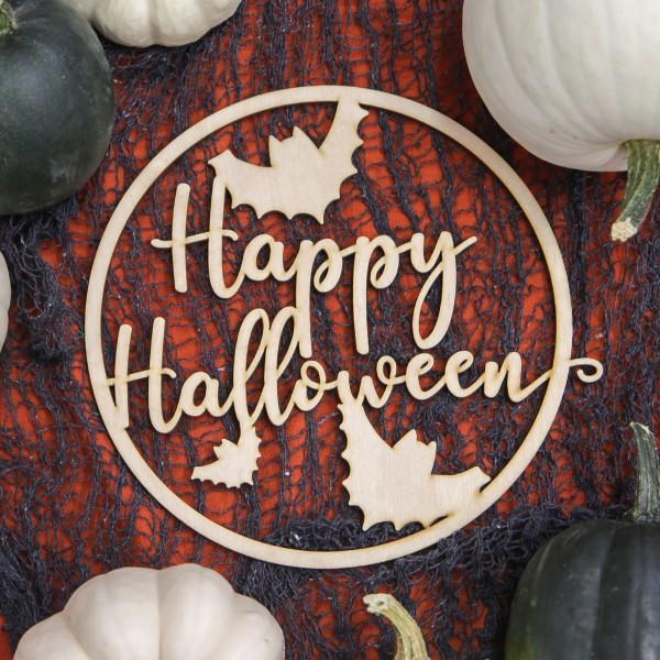 Holzkranz | Happy Halloween | Fledermaus