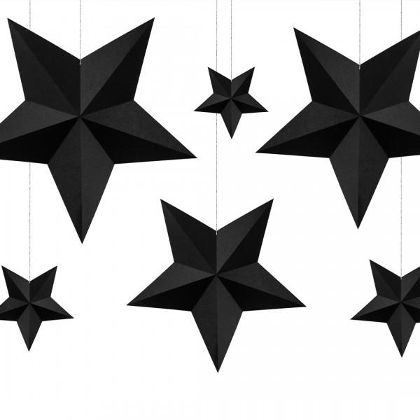 Deko-Sterne | Party Deko | Schwarz 6 Stk., alle Sterne hängend präsentiert
