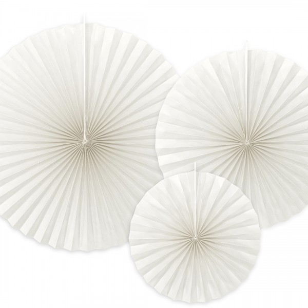 3 weiße Papierrosetten
