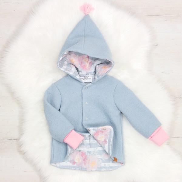 Walkjacke Zipfelmütze - Flower - hellblau / rosa