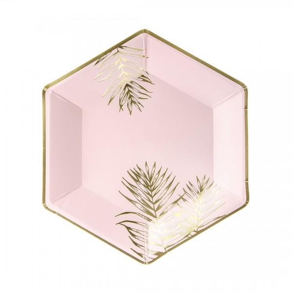 Teller Blätter in Rosa mit goldener Verzierung einzeln