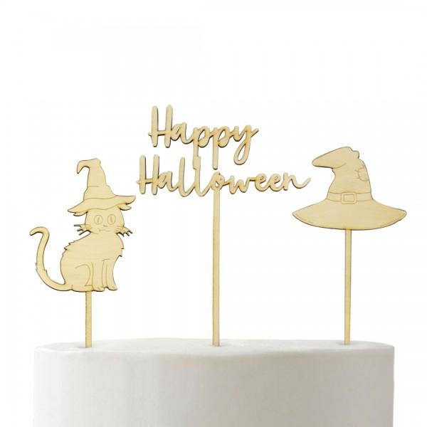 Cake Topper Katze Cake Topper Happy Halloween Cake Topper Hexen Hut auf Fondant Torte
