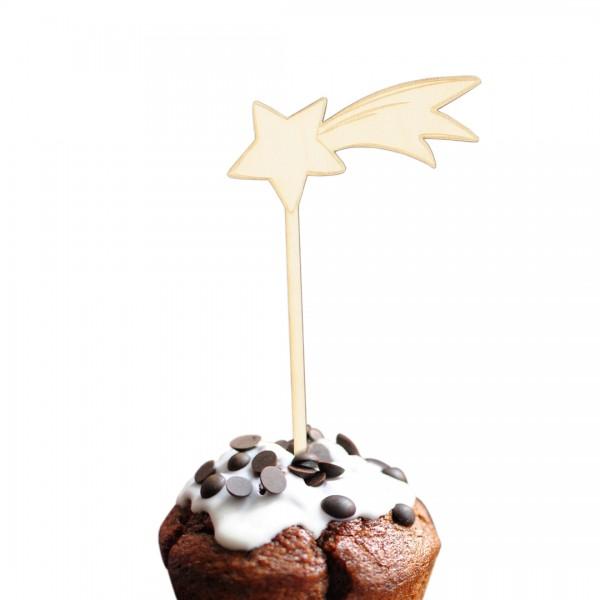 Unser wunderschöner Sternschnuppen - Cake Topper auf einem Muffin