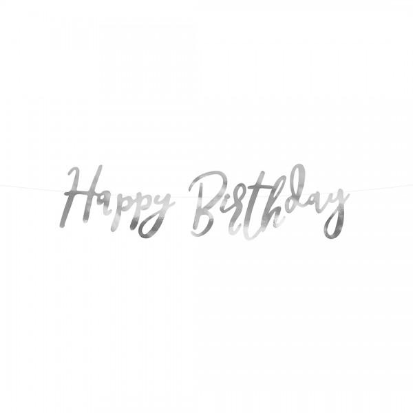Happy Birthday Banner Silber