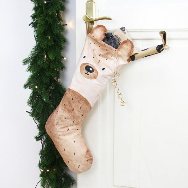 """Nikolausstiefel """"Bär"""" an Tür hängend"""