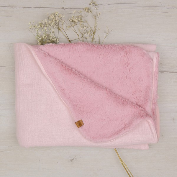 Babydecke - natural cotton - zartrosa