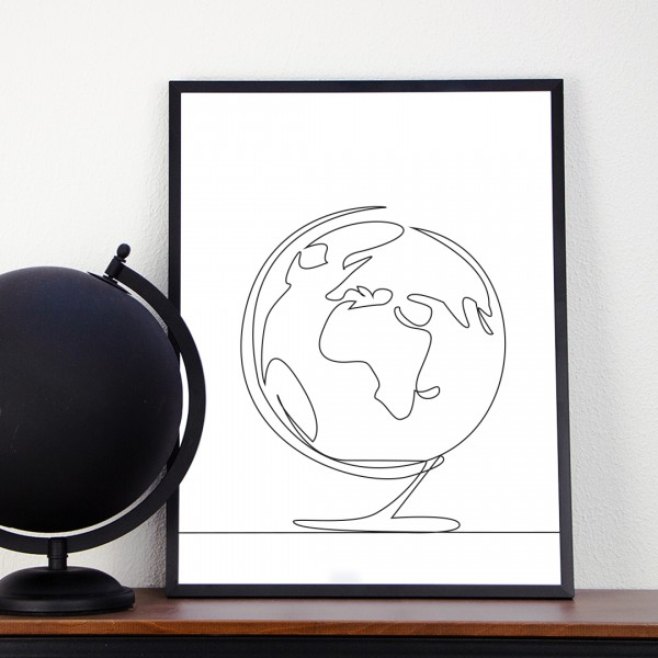 Line Art – Kunstdruck – Globus