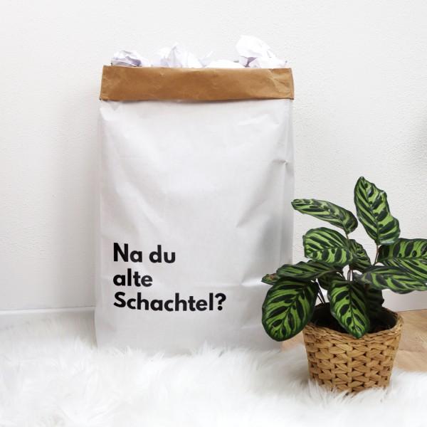 """Papiertüte mit dem Spruch """"Na du alte Schachtel?"""""""