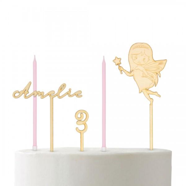 Set Cake Topper Wunschname, Wunschzahl und kleine Fee und rosa Kerzen