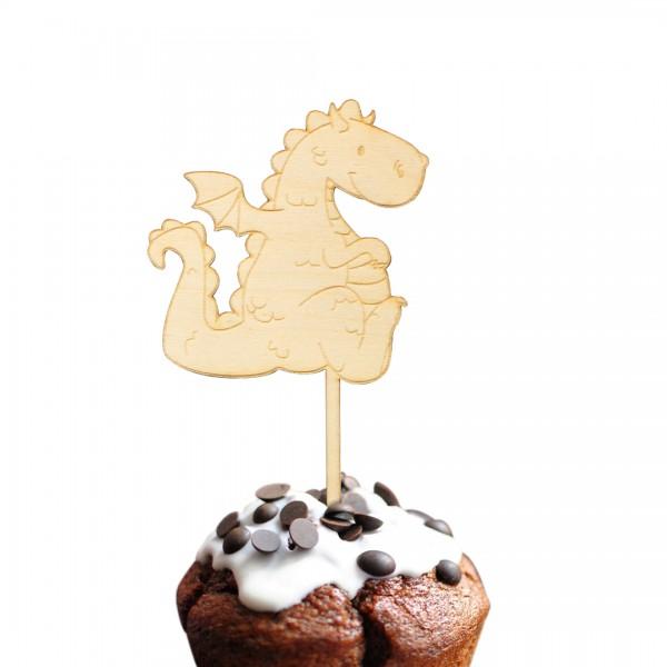 Cake Topper Drache aus Holz auf Muffin