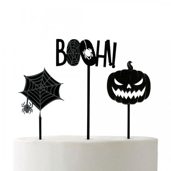 Acryl Cake Topper Spinnennetz Acryl Cake Topper Booh!! Acryl Cake Topper Pumpkin auf Fondant Torte