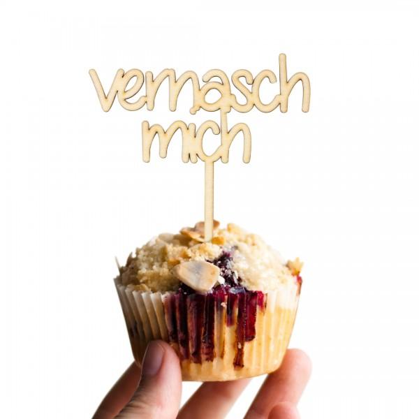"""Cake Topper mit Schrift """"vernasch mich"""" auf einem Muffin"""