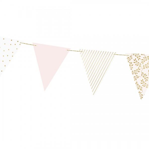 Wimpel-Girlande – Party Deko   Pastellrosa mit rosa und weißen Wimpeln mit Punkten und Streifen in gold
