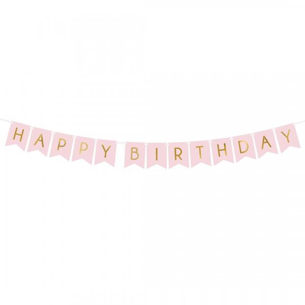 Banner Happy Birthday rosa mit goldener Aufschrift