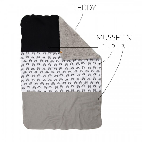 Babydecke aus Teddystoff auf einer und drei verschiedenen, frei wählbaren Musselinstoffen auf der anderen Seite