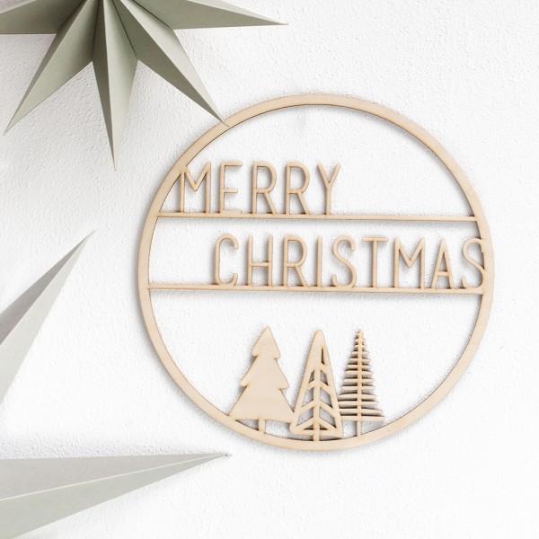 Holzkranz   Merry Christmas mit 3 Weihnachtsbäumen an einer Wand